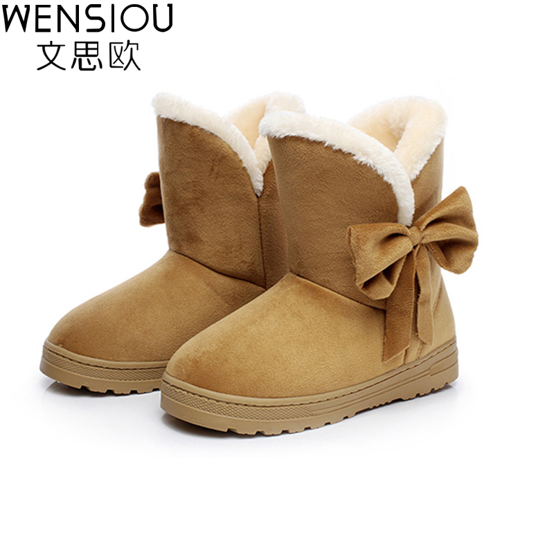 Winter Newest Women Boots Ladies Snow Boots Solid Color Classical With Bowtie Slip-On Women Casual Shoes Hot Sale AST905 2015 new arrival fashion women winter snow boots warm ladies shoes bowtie slip on soft cute shoes purple color sweet boots