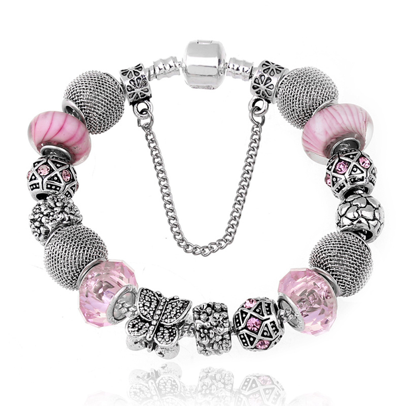 New Fashion Jewelry Natural stone Murano Glass Charms Bracelets & Bangles Butterfly beads fits Pandora bracelet For Women