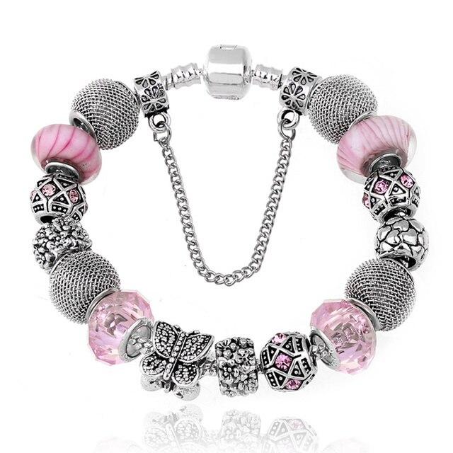 72b053222222 Nueva joyería de moda de piedra Natural de cristal de Murano Charms pulseras  y brazaletes mariposa