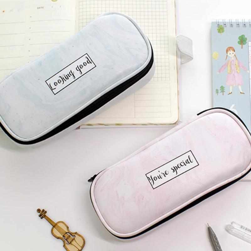 New Simple Style Student Stationery Marble Pencil Case Multi-function Waterproof Cute Pecil Case Office School Supplies