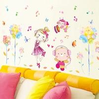 70x140 см Цвет мультфильм музыка девушки спальня детская комната настенные наклейки детский сад Танцы студии, стены, Декор наклейки