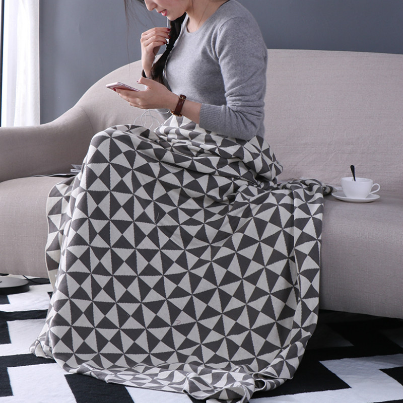 iDouillet Decorative Geometric Pattern 100% Cotton Knit Throw Blanket for Bed Sofa Couch Snuggle on Chair Oversized 130x180cm|Throw| |  - title=
