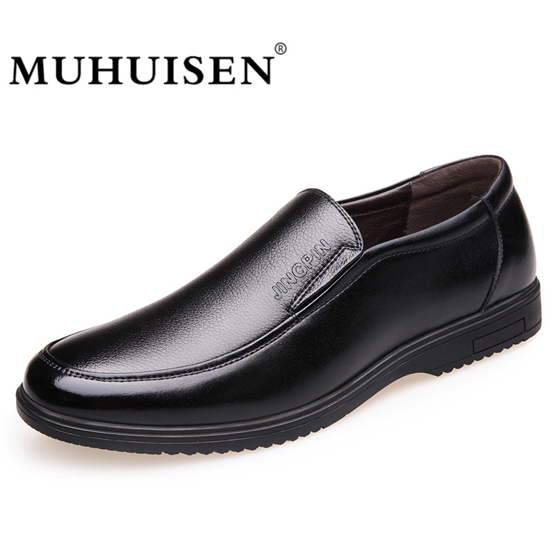 MUHUISEN Leather Mens Breathable Casual Shoes Comfortable Business Shoes Slip On Men Fashion Flats Loafer Moccasins pl us size 38 47 handmade genuine leather mens shoes casual men loafers fashion breathable driving shoes slip on moccasins