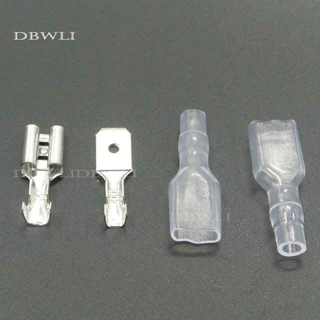 200pcs 6.3mm Crimp Terminal 50 Female Spade Connector & 50 Male Spade  Connector with 100 Case
