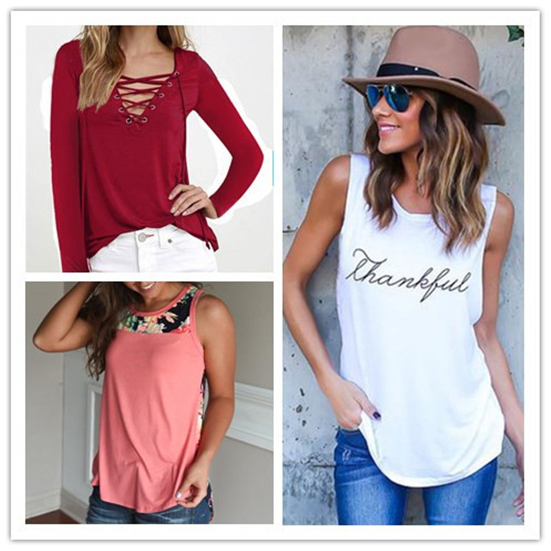 2019 New Summer Women Letter Floral Printed Vest Top Casual Soft O Neck T Shirts Basic Tees Slim Beach Ladies Tops Female S-3XL