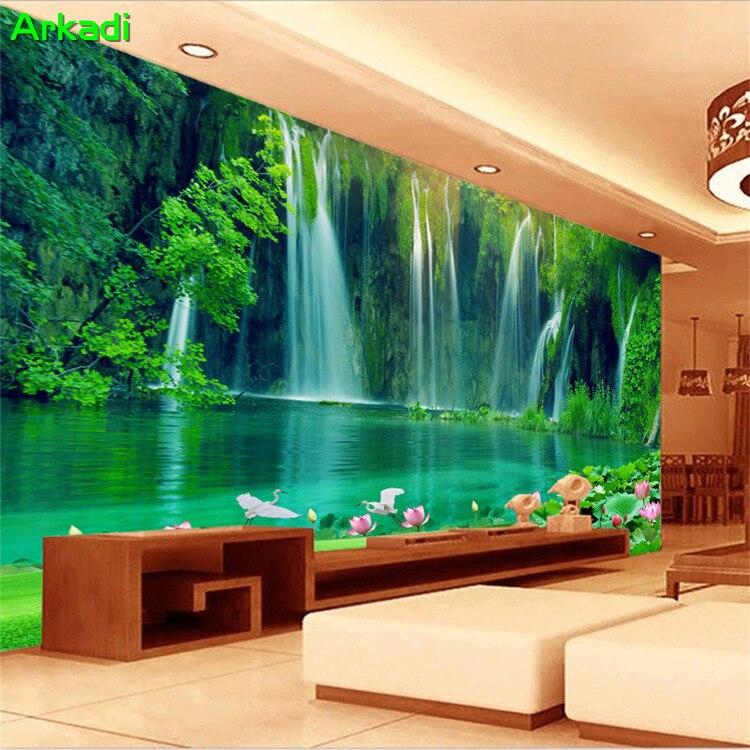 3D Waterfall Poster Beautiful Scenery Grassland Natural