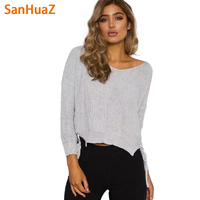 SanHuaZ Brand 2017 Autumn Winter Women S Sweaters Casual Fashion V Neck Long Sleeve Lace Up
