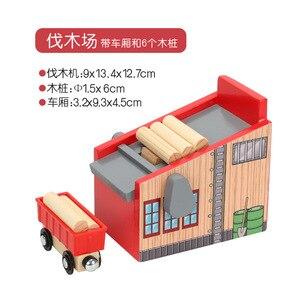 Image 5 - Accessoires de scène de piste en bois Friends, Compatible avec plateforme de voiture ferroviaire, jouet de marque en bois, cadeau pour enfants