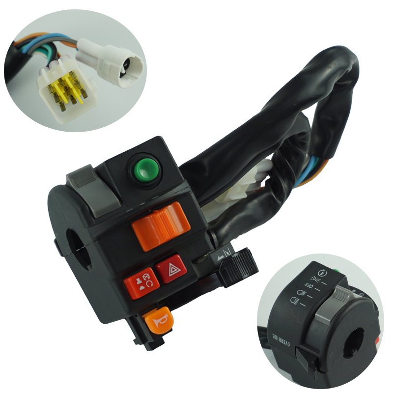 """Motorcycle Switch 7/8"""" 22mm Handlebar Mount High/Low Beam Light Turn Signal Horn Warming Light Ignition Start Kill Switch"""