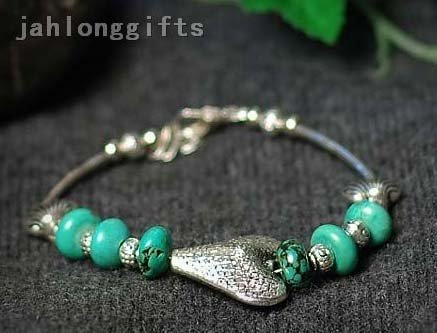 Hot Selling Ladies Turquoise Bracelet Jewelry with Tibet Silver Heart Pendant Valentine Gifts 40pcs Mixed Lot Free Ship