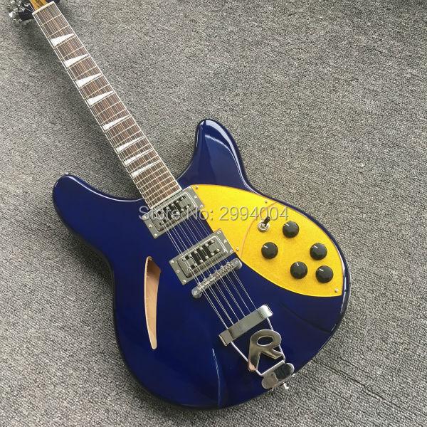 Guitarra de 12 cuerdas de alta calidad, guitarra, Escudo Dorado azul, venta al por mayor y venta al por menor de la imagen real, RICK guitarra eléctrica