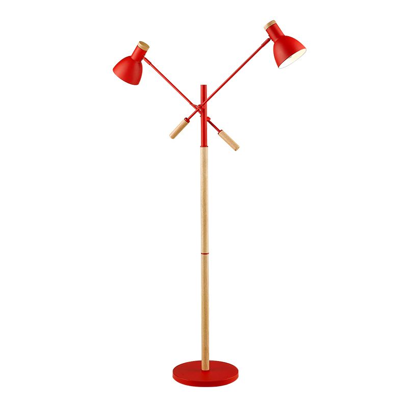 Modern Wood Floor Lamp 2 lamp Nordic 6W E27 LED Bulb Living Room Bedroom Study Standing Lamps Black white red metal wood body modern wooden floor lamps bookshelf floor stand lights tea table standing lamp living room bedroom locker nightstand lighting