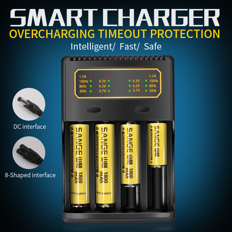 Lii4.3/Lii-4.2/Lii-3.7V 14500/18650/26650/18350/16340/18500/AA/AAA Lithium Battery Charger By Lithium-ion Rechargeable Battery