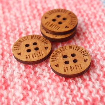personalized wooden buttons for knitted and crocheted items, handmade custom (MK003)
