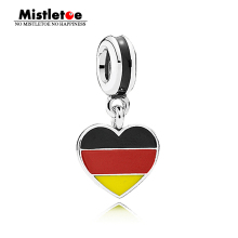 Authentic 925 Sterling Silver Germany Flag Heart Dangle Charms Red Black & Yellow Enamel Fit European Bracelet Necklace Jewelry(China)