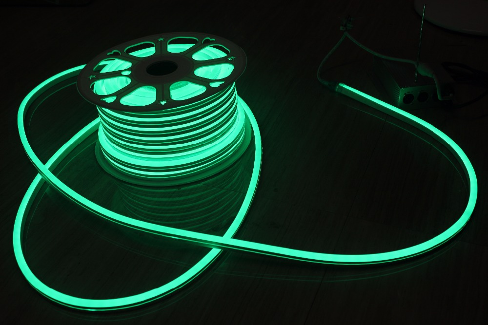 50M (164) Spool 220V Neon Soft Tube UV Resistance Mini 11x18mm Rope Waterproof RGB LED Flex Neon Signs Indoor Outdoor Lighting
