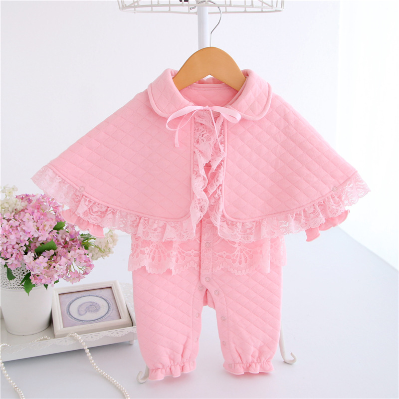 Thicken Baby Girl Rompers Newborn Lace Jumpsuit Cotton Long Sleeves Ropa Baby Clothes Infant Princess Pajamas and Baby Cloak Set newborn baby rompers baby clothing 100% cotton infant jumpsuit ropa bebe long sleeve girl boys rompers costumes baby romper