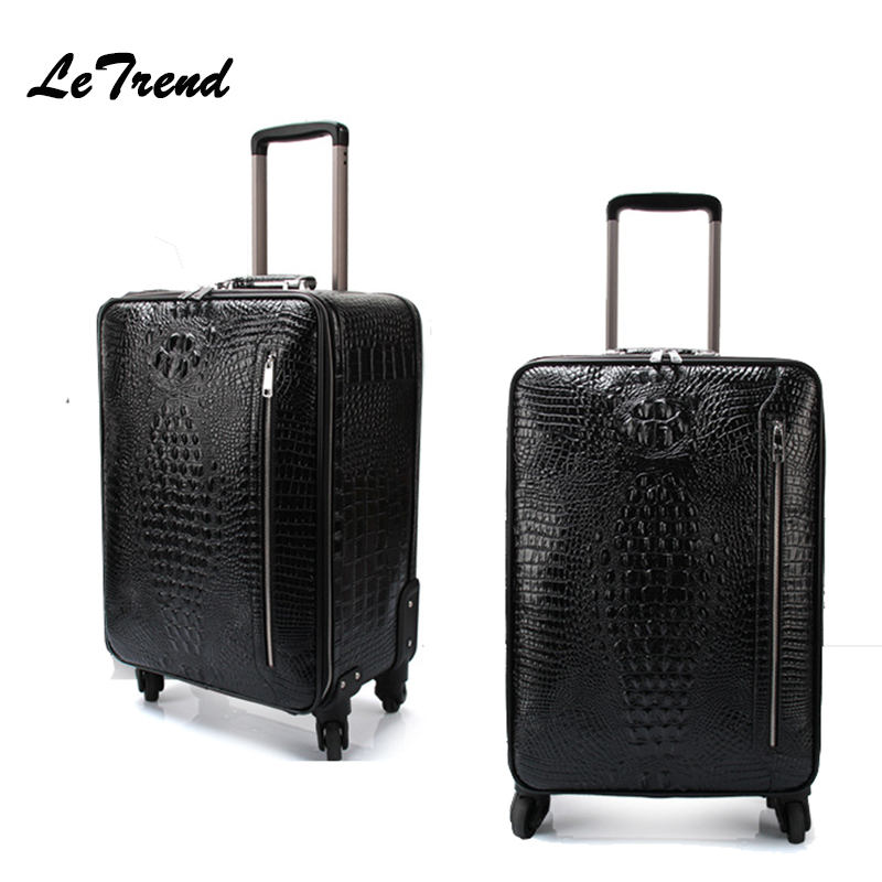 LeTrend Crocodile Rolling Luggage Spinner Wheel Suitcases Women Genuine Leather Travel bag Men Business Trolley Carry On Luggage