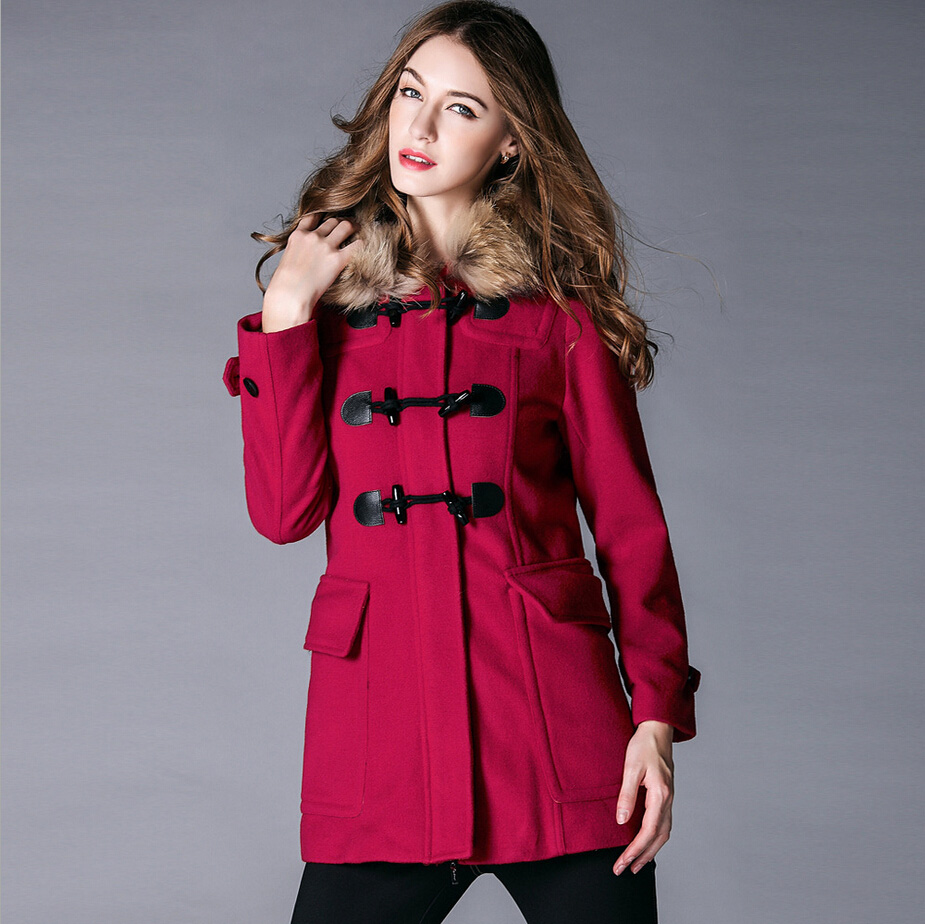 Winter Coat With Real Fur Collar Womens Loose Wool Women Le Palais Vintage 2016 Plus Size Long Female Overcoat