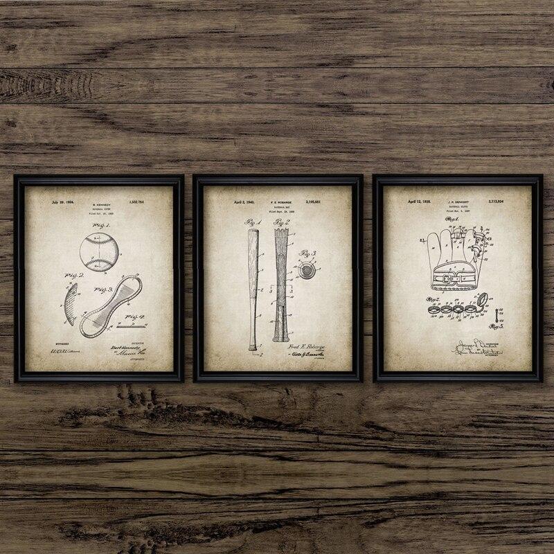 Baseball Patent Vintage Poster Baseball Glove Bat Wall Art