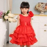 2016 Summer Fashion Children Little Girl Flower Dress Wedding Party Cotton Pageant Ball Gown Communion Dresses