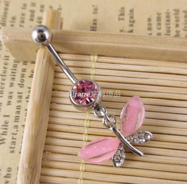 Charming Body Piercing Jewelry Medical Steel Umbilical Butterfly ...