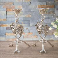 Vintage Grape branch 3arm sliver candle holders metal candlesticks wedding decorative candlestick candle holder for home ZT160