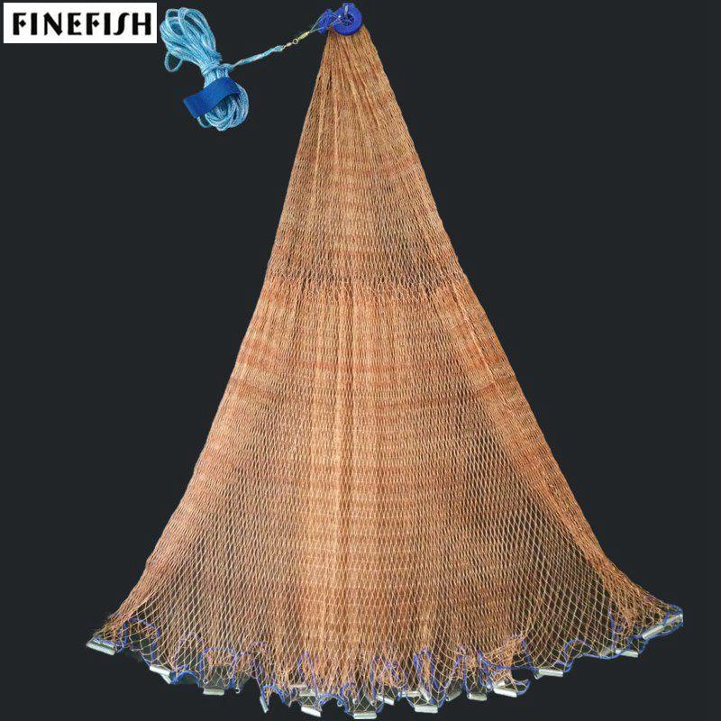Finefish ручная сеть, коричневая прочная американская кастинговая сеть, уличная охотничья ловушка, рыболовная сеть, мелкая сетка, Тянущая жабер...