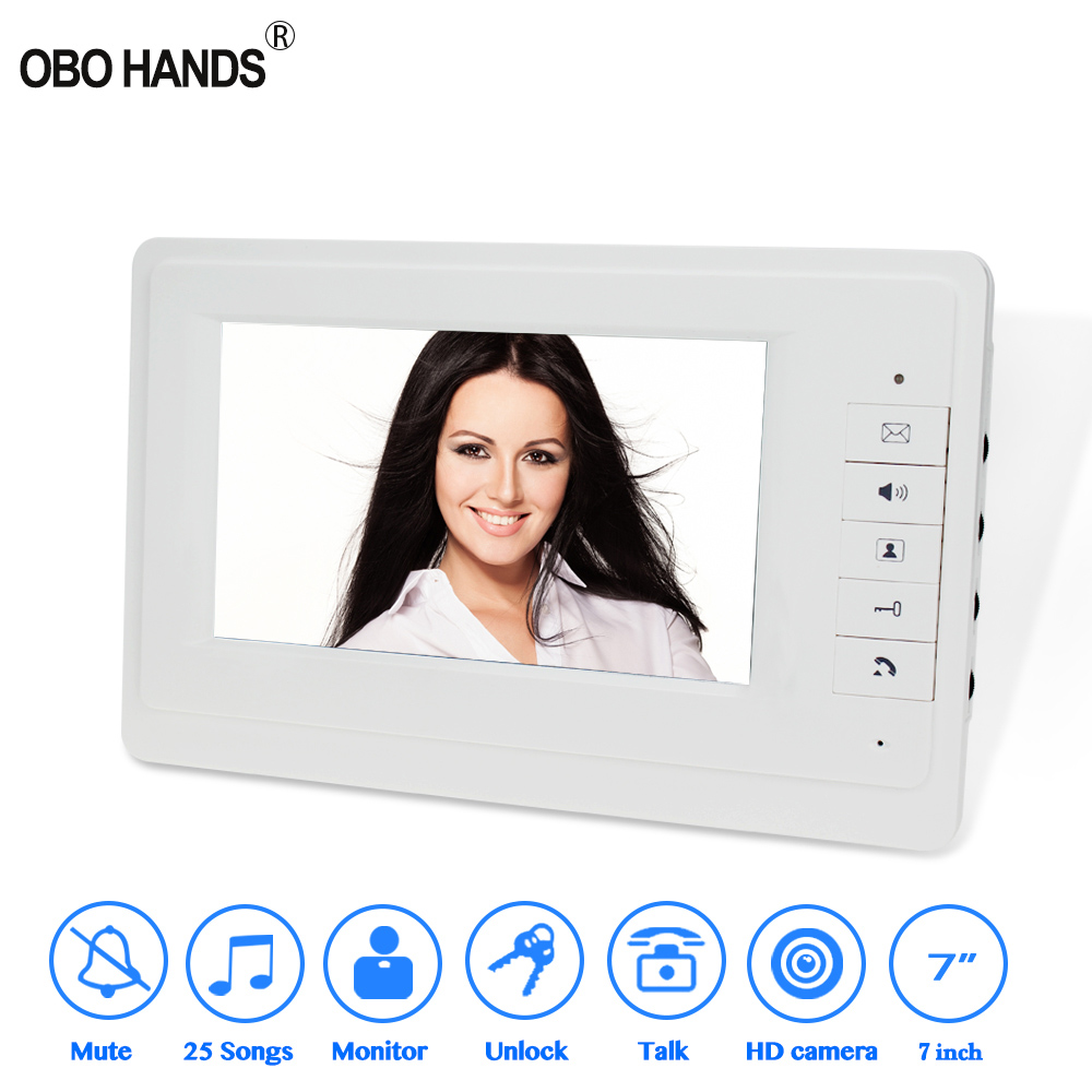 7'' TFT Color Monitor Wired Video Doorbell Intercom Home White Indoor Unit Door Phone For Private House Without Outdoor Camera
