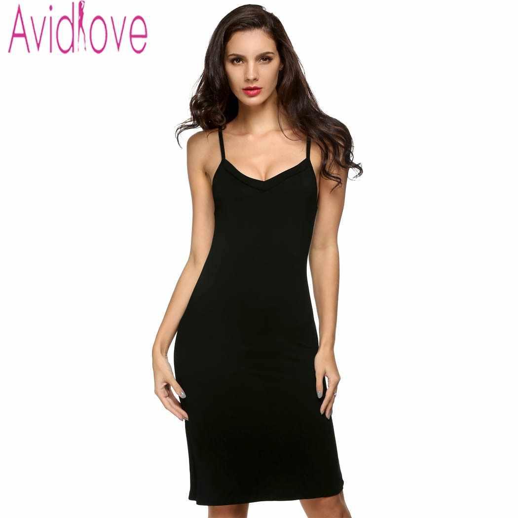 9c1ec9bd8b20 Avidlove Women Sexy Spaghetti Strap Dress Sleeveless V Neck Sleepwear  Nightgown Casual Slim Solid Basic Pajama
