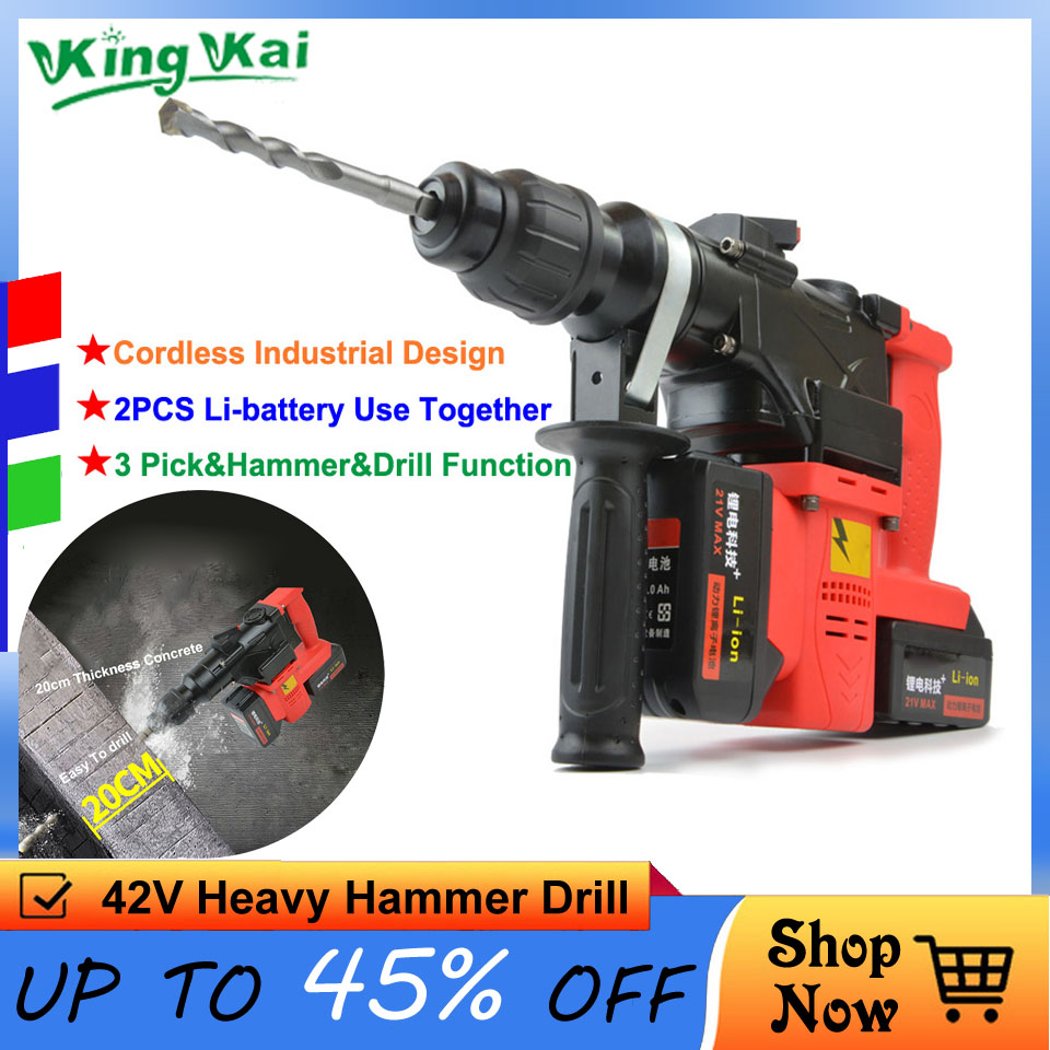 15000 25000mAh Heavy Industrial Wall Hammer Cordless Drill Rechargeable Samsung Lithium Battery Electric Hammer Impact Drill