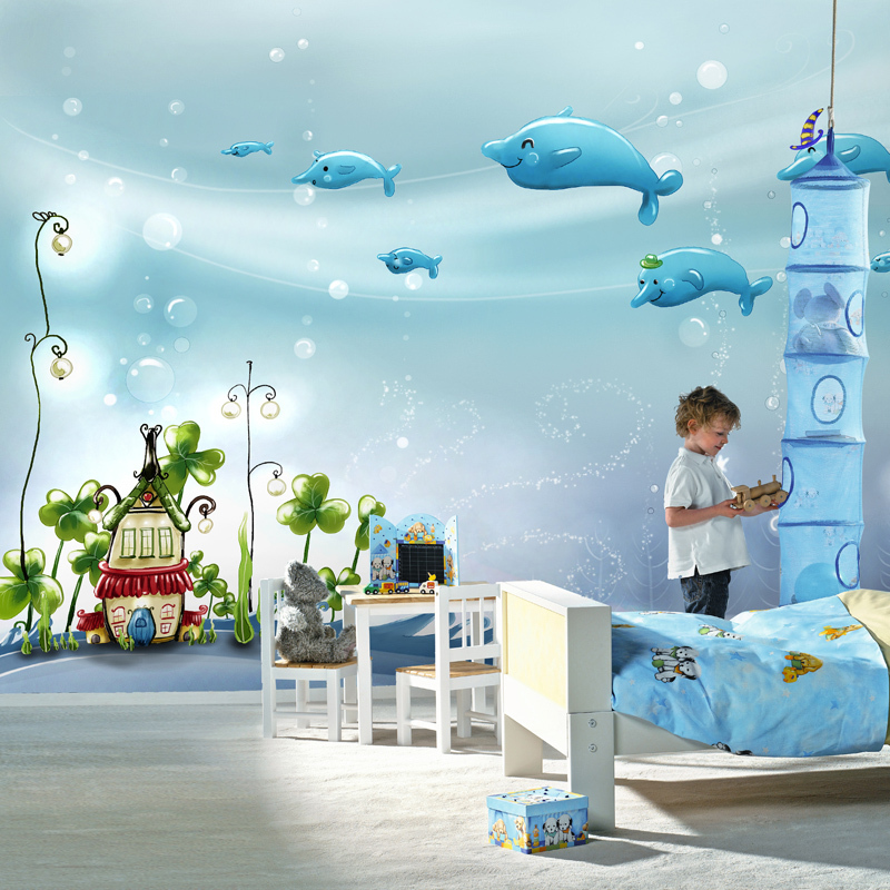 Hot wall stickers art Large 3d three-dimensional mural wall paper child cartoon dolphin bubble real ocean wallpaper  home decor murals wall paper modern art top beach deep blue sea water ripples swim dolphins home decor ceiling large wall mural wallpaper