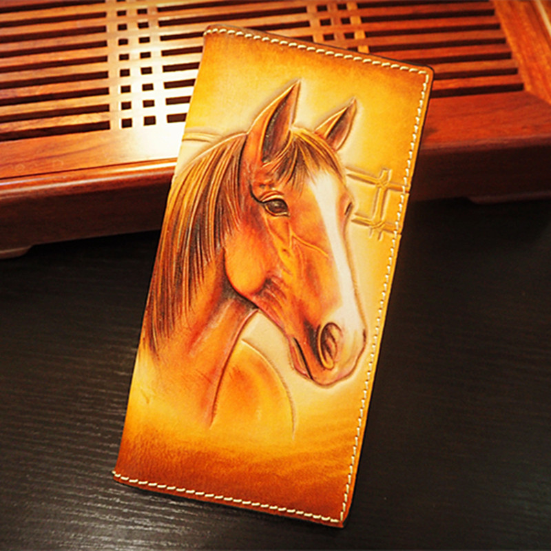 Chinese Style Hand Carving Fine Horse Wallets Bag Purses Men Long Clutch Vegetable Tanned Leather The Most Special GiftChinese Style Hand Carving Fine Horse Wallets Bag Purses Men Long Clutch Vegetable Tanned Leather The Most Special Gift