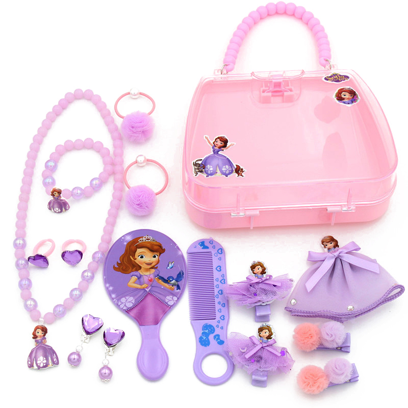 1 Gift Set Cute Cartoon Accessories For Girls Sofia Princess Hello Kitty Hair Clips Barrettes Rubber Bands Headdress Accessories