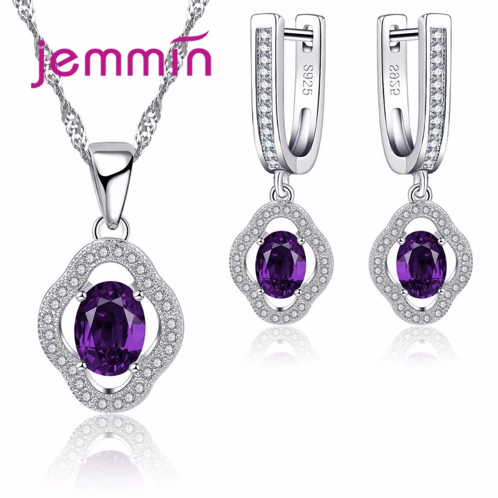 Jemmin Wedding Jewelry Sets Necklaces And Earrings Fine 925 Sterling Silver Amethyst Engagement Jewellery Set For Female Gift