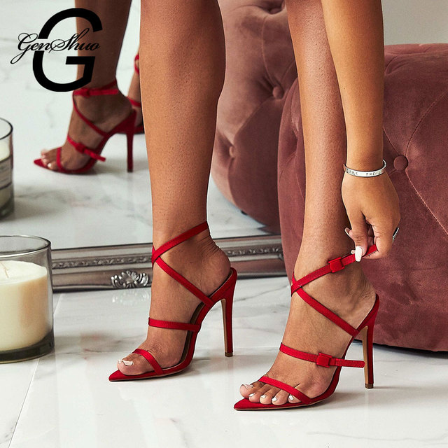 GENSHUO Sexy Shoes Women Flock Leather Gladiator Sandals Women High Heels Open Toe Ladies Red Shoes Sandalias Sapatos Femininos