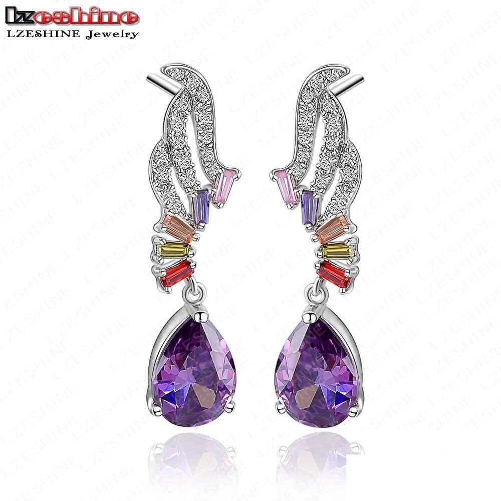 Lzeshine Purple Color Water Drop Shape Cubic Zirconia Earrings Style Angel Wing Cz Stone Earring Cer0014 B In From Jewelry