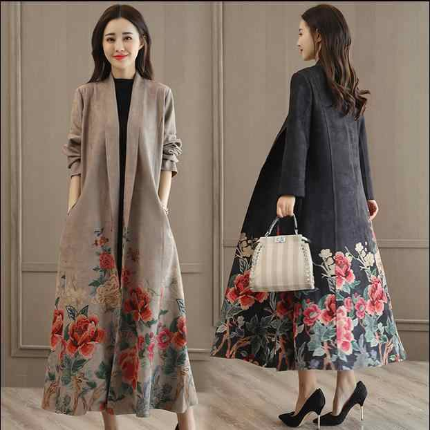 windbreaker women spring autumn printing fashion trend coat with belt plus size 3XL