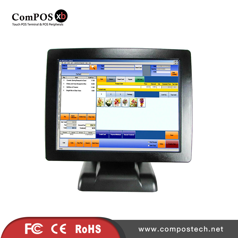 China OEM all in one restaurant touch screen pos system cash register touch screen pos pc epos system pos system supermarket 15 inch dual screen display touch computer double screen all in one pos system restaurant cash register