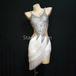 Женское платье для латинских танцев, белое платье с v-образным вырезом и бриллиантами для латинских танцев, профессиональная юбка для латин...