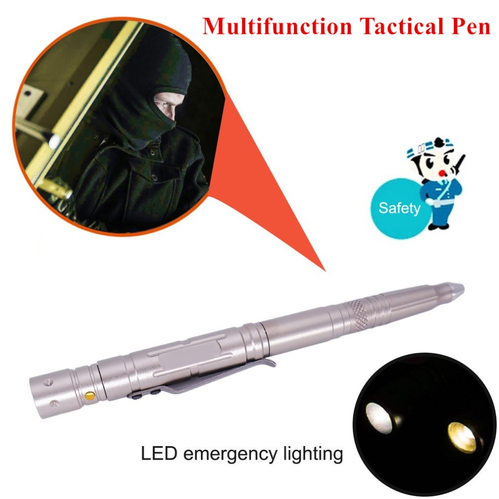 LESHP Multifunction Tactical Pen With Knife LED Light Aluminum Alloy Body Self Defense Guard Glass Broken Pen Outdoor Emergency high quality tactical pen self defense pen with led light knife whistle outdoor edc tool aviation aluminum defence fc