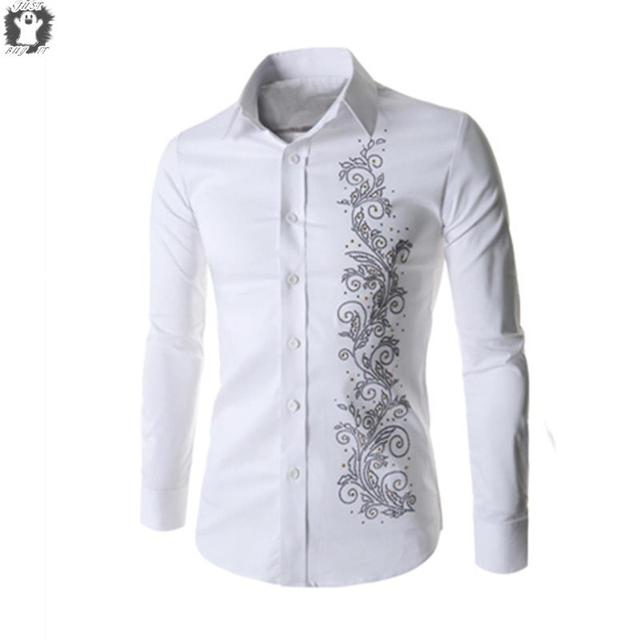New Autumn Chinese style Embroidery Shirt For Men Fashion Mens Dress Shirt  Long Sleeve Men Shirts