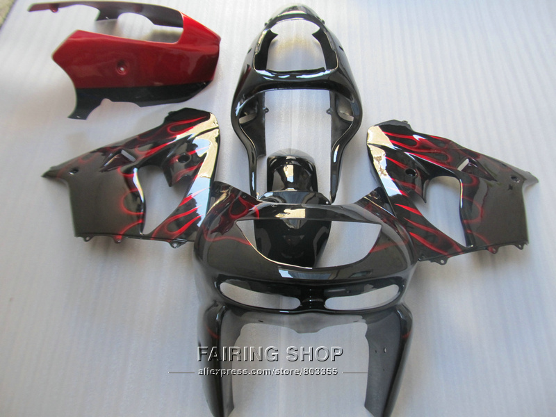 Hot sale plastic fairing kit For Kawasaki ZX9R 98 99 red flames black fairings set ninja zx9R 1998 1999 XG11
