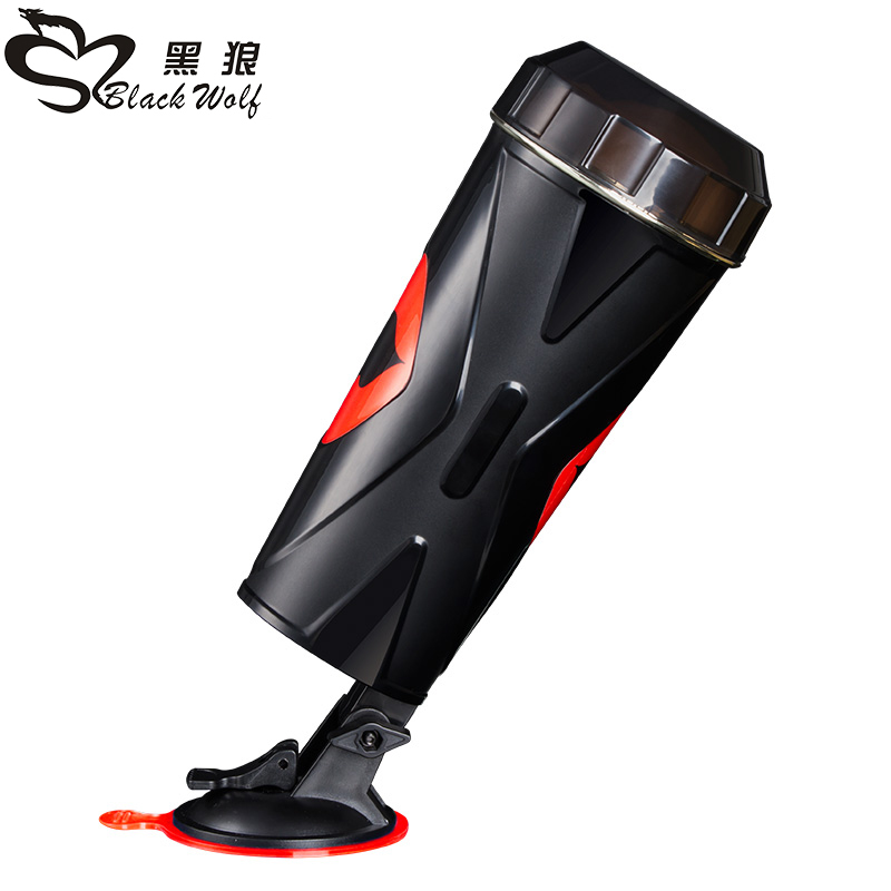 Black wolf vagina oral anal <font><b>sex</b></font> 3 in 1 male Masturbator Cup,Adult <font><b>doll</b></font> electric masturbation cup vibrating male appliances image