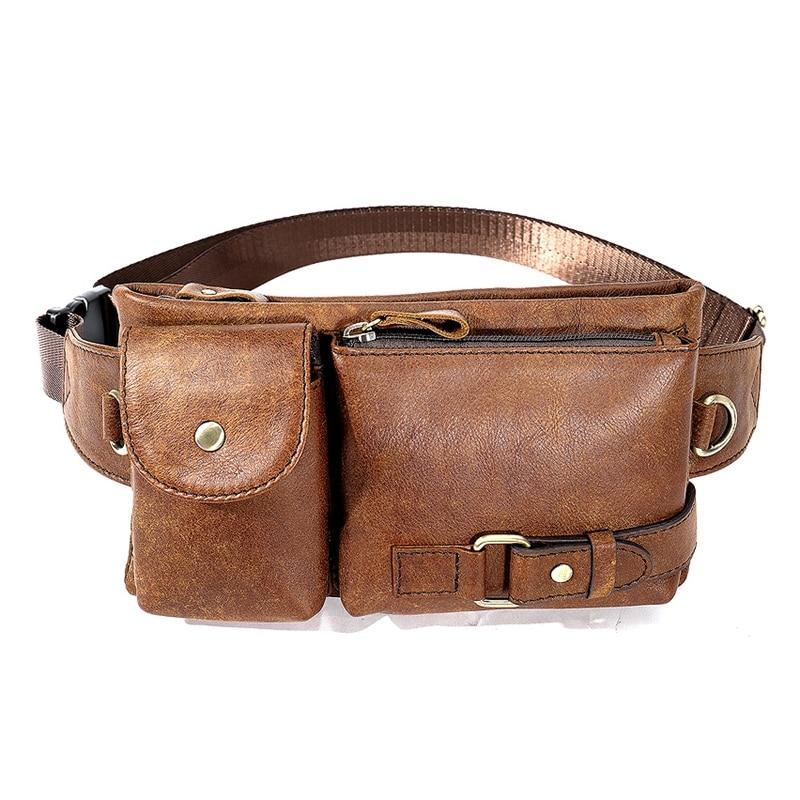 Mva мужские карманы кожаные карманы сумка для телефона Ретро повседневные Карманы - Цвет: Brown