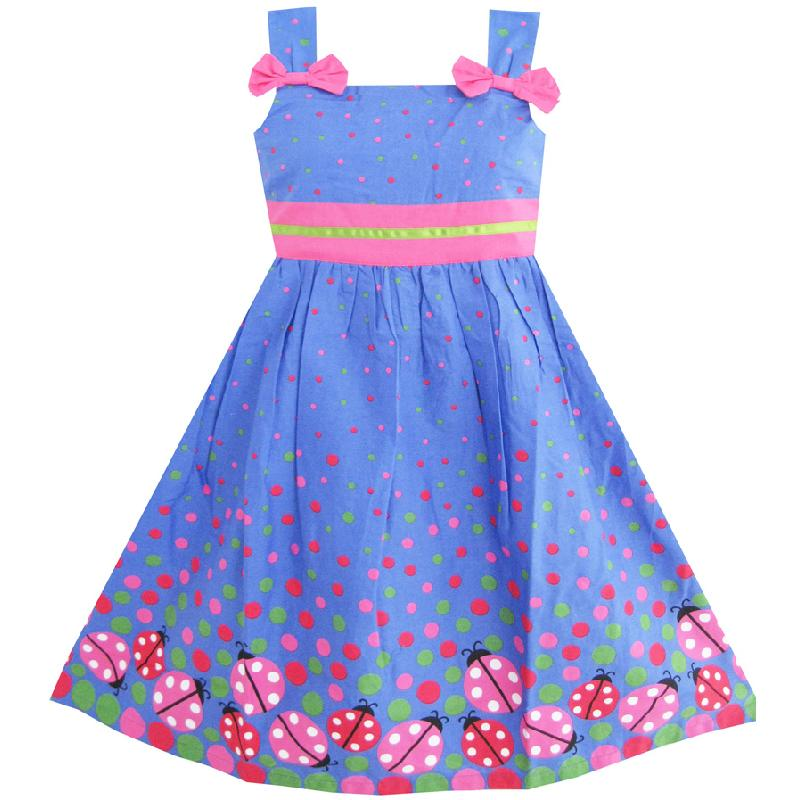 Sunny Fashion Girls Dress Blue Bug Pink Dot Children Clothing Cotton 2018 Summer Princess Wedding Party Dresses Clothes Size 2-8 sunny fashion girls dress long sleeve crown ribbon birthday princess pink dress 2017 summer wedding party dresses size 4 8