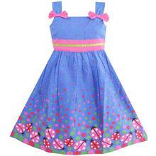 Sunny Fashion платья для девочек Синий Ошибка Розовый Точка