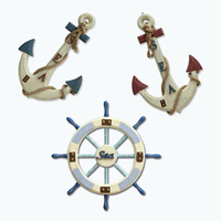 MediterraneanStyle anchor reminiscence retro cafe home wall hanger craft hanging decoration gift Mural Decoration Anchor Rudder