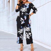 Милый повседневный комбинезон больших размеров с цветочным принтом; летние комбинезоны Boho; свободные широкие брюки для отдыха; черные женские комбинезоны