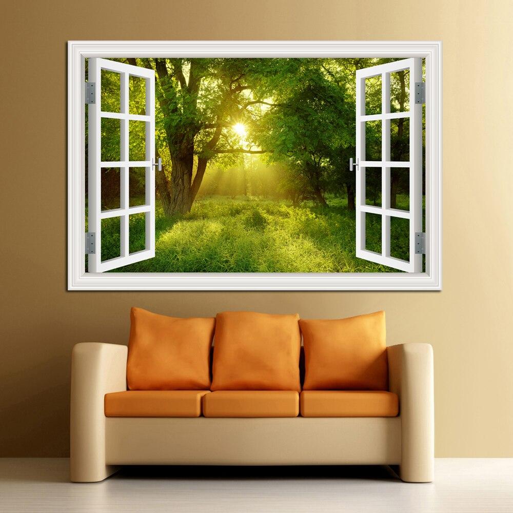 3D ventana Vista paisaje del Bosque en cuatro estaciones 3D pegatina de pared verde árbol dorado extraíble papel pintado decoración del hogar